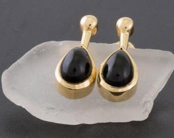 Solid 14K Yellow Gold Genuine Onyx Earrings 3.8 Grams