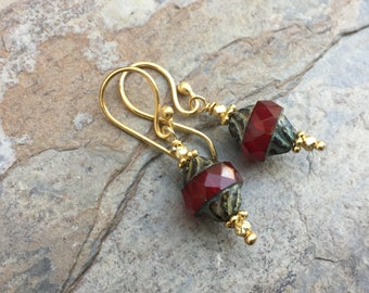 Faceted Red Glass Earrings, Czech Glass Earrings, Gold Vermeil, 1.25 inch