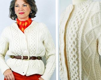 1950s 50s Cardigan Sweater / Aran Wool Cardigan Sweater / Irish Wool Cardigan Sweater / Hand Knit Cardigan Sweater /