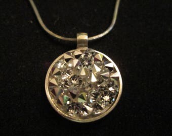 "Swarovski Silver Shade Crystal Rocks Pendant Set In Sterling Silver With 18"" Sterling Chain"