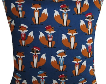 Handmade Mr Fox nautical sailor designer navy blue cushion cover