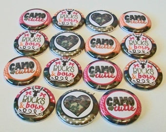 Pink and Orange Camo Cutie Hunting Set of 15 1 inch Flat Back Buttons Embellishments Buttons Flair