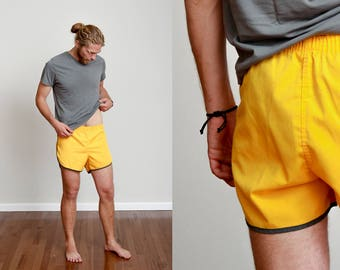 1970s Banana Yellow Gym Shorts • L/XL