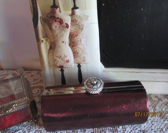 Stunning Red Satin Vintage Round Barrel Purse Clutch, Vintage Maroon/Red Mother of Bride Purse,Something Old Purse,Mother of The Groom Purse