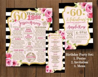 Golden Glitter Birthday Set. Pink and Gold Birthday Invitation. 30th-40th-50th-60th Birthday. Printable Digital DIY Card