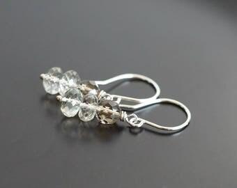 Amethyst earrings, smokey quartz earrings, prasiolite earrings, green amethyst jewelry gift, quartz jewelry, green brown earrings