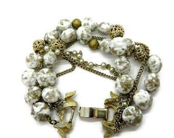ON SALE! Kramer Glass Bead Bracelet Vintage Designer Signed Triple Strand White and Gold Bracelet