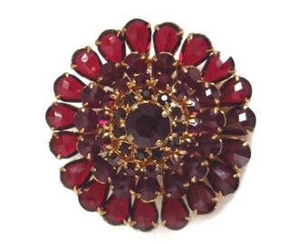 Vintage Red Austrian Crystal Brooch, Crystal Flower Pin, Gold Tone Austria Pin