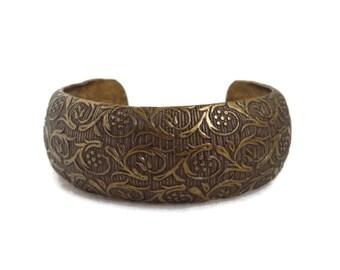 Vintage Copper Toned Cuff, Bronze Tone Scrolled Bracelet