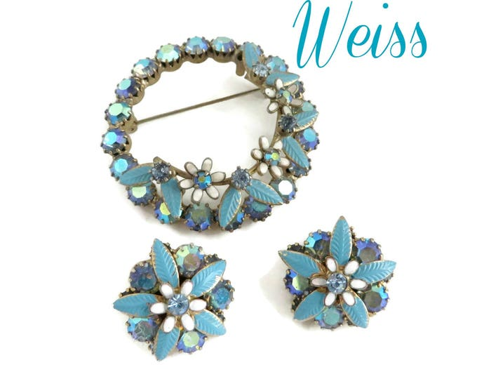Weiss Demi Parure Brooch and Earrings Set Vintage Weiss Jewelry Signed Weiss Jewelry