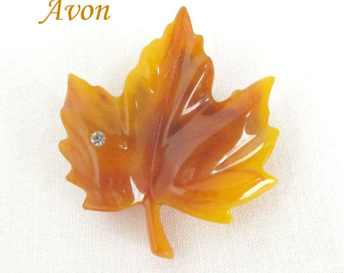 AVON Brooch - Amber Lucite Leaf Brooch, Golden Leaf Pin Rhinestone Accent, Perfect Gift, Gift Box, FREE SHIPPING
