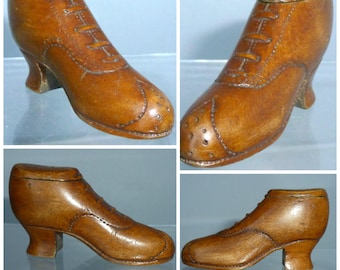 Victorian Snuff  Box Shoe Boot Treen Wood Carved