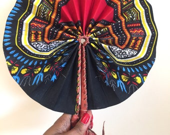 Leather and Ankara African Fan