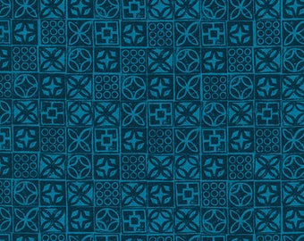 Architectural Blocks in Blue by Melody Miller and Alexia Abegg from the Poolside collection for Cotton and Steel by 1/2 yard