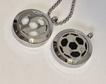 Sports Diffuser Necklace - Soccer Ball - Soccer Essential Oil Locket - Sport's Fan