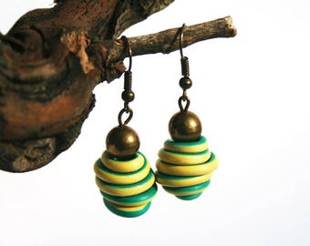 Upcycled jewelry. Yellow green earrings made of recycled electric cables HONGKONG
