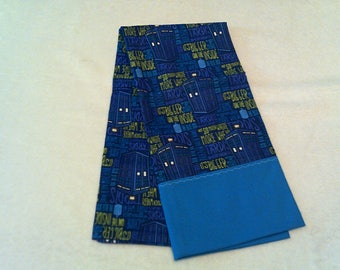 """Pillowcase made from Doctor Who Tardis """"It is Bigger on the Inside"""" cotton fabric with bright blue trim"""