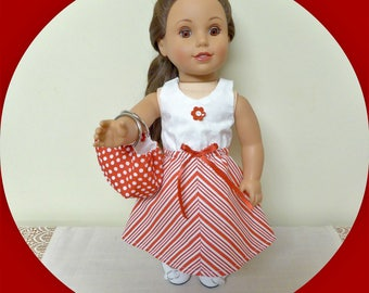18 Inch Doll Dress,Purse/Red and white stripe American Doll outift/AG stuff/Girl Doll Accessory/USA Doll Clothes/Doll Purse/Valentine gift