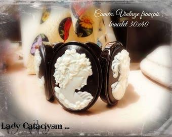 Cameo black and white bracelet, spirit 1900 Victorian Gothic