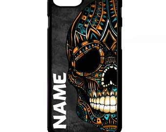 Sugar skull mexican day of the dead tattoo aztec art personalised name cover for iphone 4 4s 5 5s 5c 6 6s 7 plus SE phone case