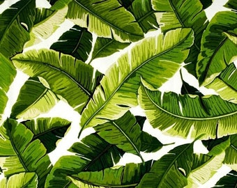 SHIPS SAME DAY Tropical Palm Leaves Outdoor Fabric, Banana Leaf Upholstery Fabric, Green Black White Indoor/Outdoor Fabric Yardage