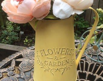 Pitcher jug, flower vase galvanised zinc hand-finished decoupage vintage style, farmhouse &  country kitchen home decor