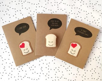 I Loaf You Valentine's Day Card - I Love You Birthday Card - Engagement Wedding Card - Toast Happy Couple - Felt Loaf Badge Brooch