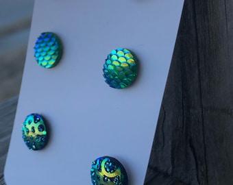 Mermaid earrings mermaid charms druzy charms  iridescent charms kids earrings green stud earrings 12mm stud earrings  nickel free jewelry