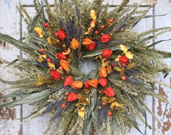 Corn Tassel, Dock, Natural Dried Lavender & Orange Chinese Lantern and Berry Summer Fall Wreath - 24""
