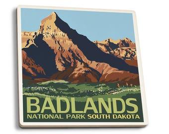 Badlands National Park, SD - LP Artwork (Set of 4 Ceramic Coasters)