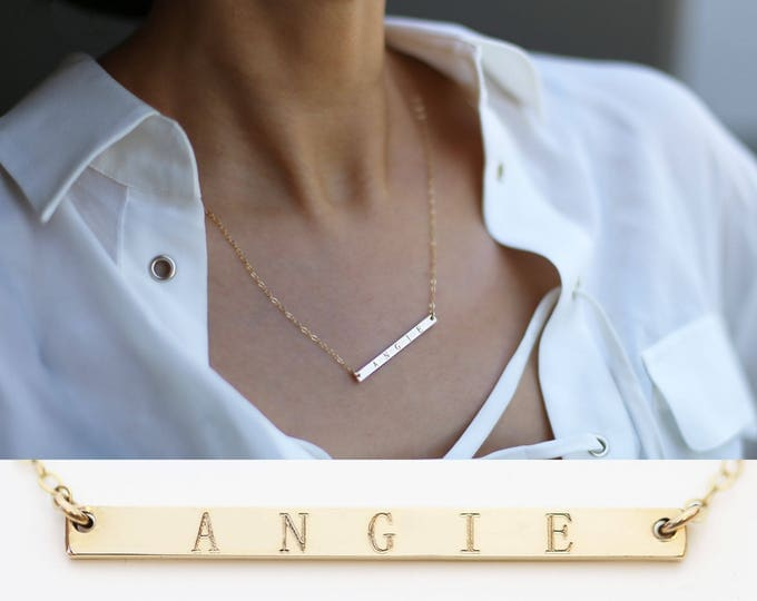 Valentin's gift for her Name Bar Necklace // Dainty modern Monogram & Name Necklace // Personalized Name Necklace