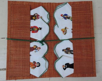 French Vintage Hankie Set Of 8/Vintage Hankies/ French Vintage Handkerchief Set/Provencal Hankies/Santonniere Embroidered Hankie Set