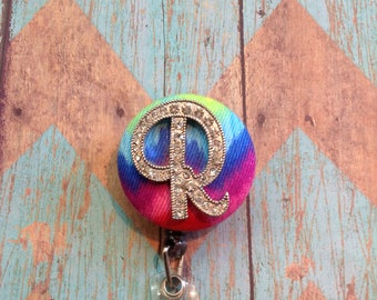 Bling R initial retractable badge reel