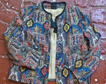 Tapestry Print Tasseled Jacket