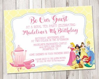 Disney Princess Tea Party Birthday  - Party Invitation