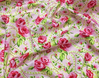 Timeless Treasures Tweet C9242 Paisley Roses on Pink Patchwork Quilting Fabric