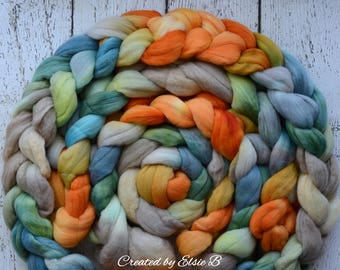 Merino 'Brave' 4 oz hand dyed roving, Created by Elsie B combed top, wool roving by the pound, spinning fiber, blue, grey, green, orange