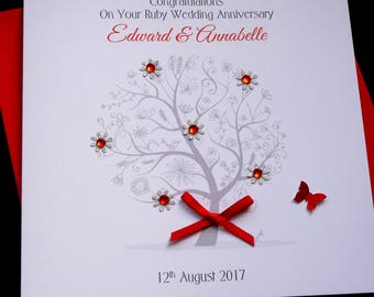Ruby /40th Wedding Anniversary tree personalised card