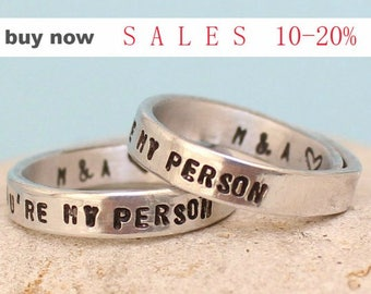 Personalized - You Are My Person Rings- Couple rings - Greys Anatomy -Adjustable. Custom - Rings Set.. Hand Stamped Aluminum Rings.. LOVE