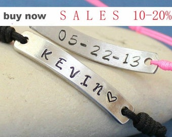Personalized Silver Bracelets - Couple Bracelets - Hand Stamped - Gift for Her Him - Name Bracelets - Couples Gift