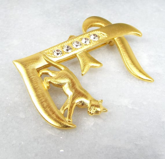 Vintage Gold Tone Initial Letter E Ornate Sparkly Crystal and Cat Brooch Pin