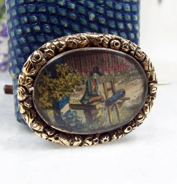 Antique Georgian Victorian 15ct Gold Painted Watercolour Scene Chased Brooch Pin