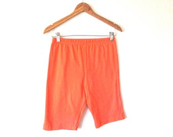 Wms Vintage 80s 90s  Orange SPANDEX Stretchy Bike Shorts Sz S