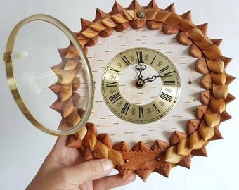 Midcentury modernist Junghans vintage Wall Clock. Handmade in birch bark.