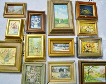 Vintage Mini Paintings Framed Wall Decor Collection Hand Painted Landscape Floral PanchosPorch