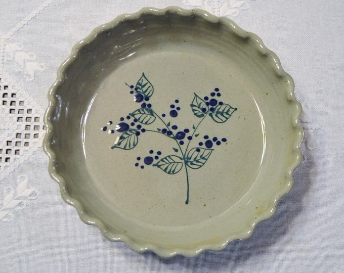 Vintage Great Bay Pottery Pie Plate Deep Dish Fluted Salt Glaze Blue Green Leaf Branch Berry New Hampshire Handmade PanchosPorch