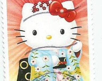 1 Hello Kitty in Kimono Used Postage Stamp