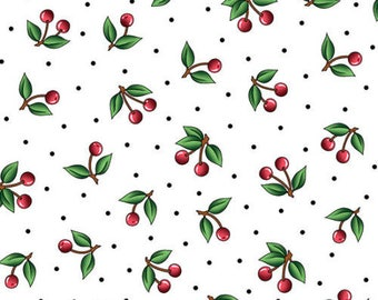 Mary Engelbreit fabric white red green cherries Cranston VIP apron kitchen home decor novelty fruit fabric 100% cotton fabric by the yard
