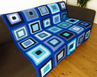 Warm Blanket Blue Blanket Blue Throw Blanket Granny Square Blanket Royal Blue Blanket