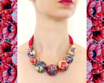 Pink Poppy Necklace